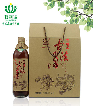 1000ml有機古法壓榨(zha)胡麻油禮盒裝(zhuang)